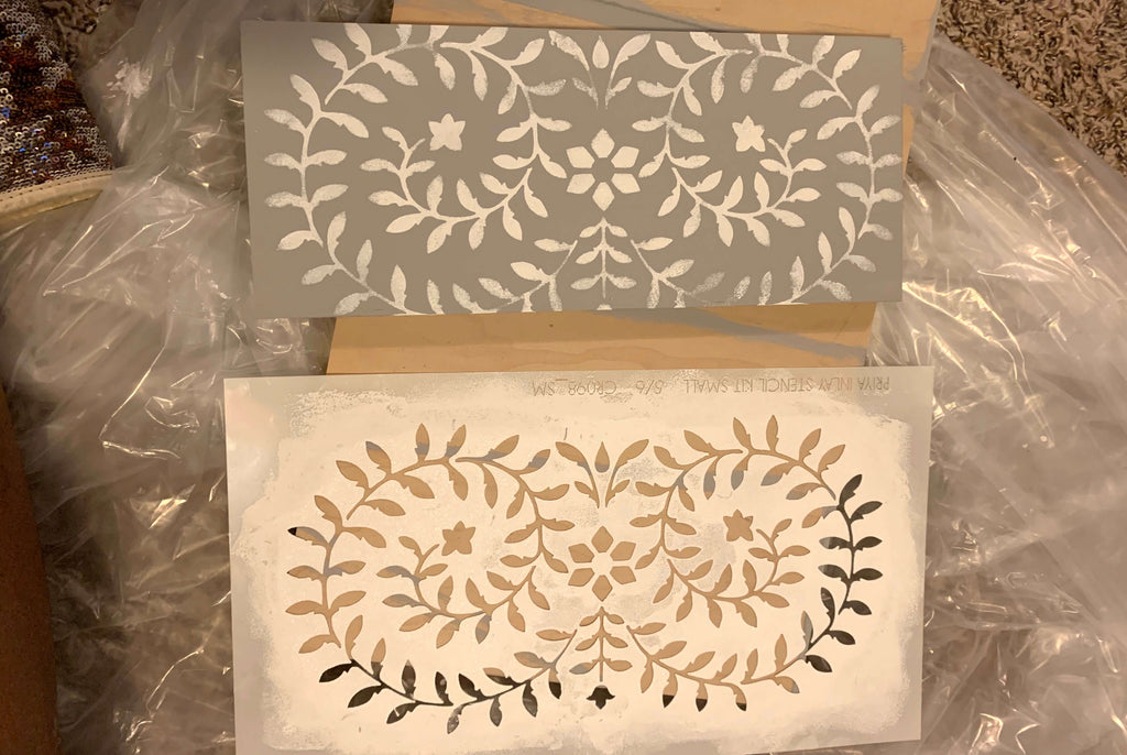 Priya Bone Inlay Stencil from Cutting Edge Stencils being stenciled on drawer fronts