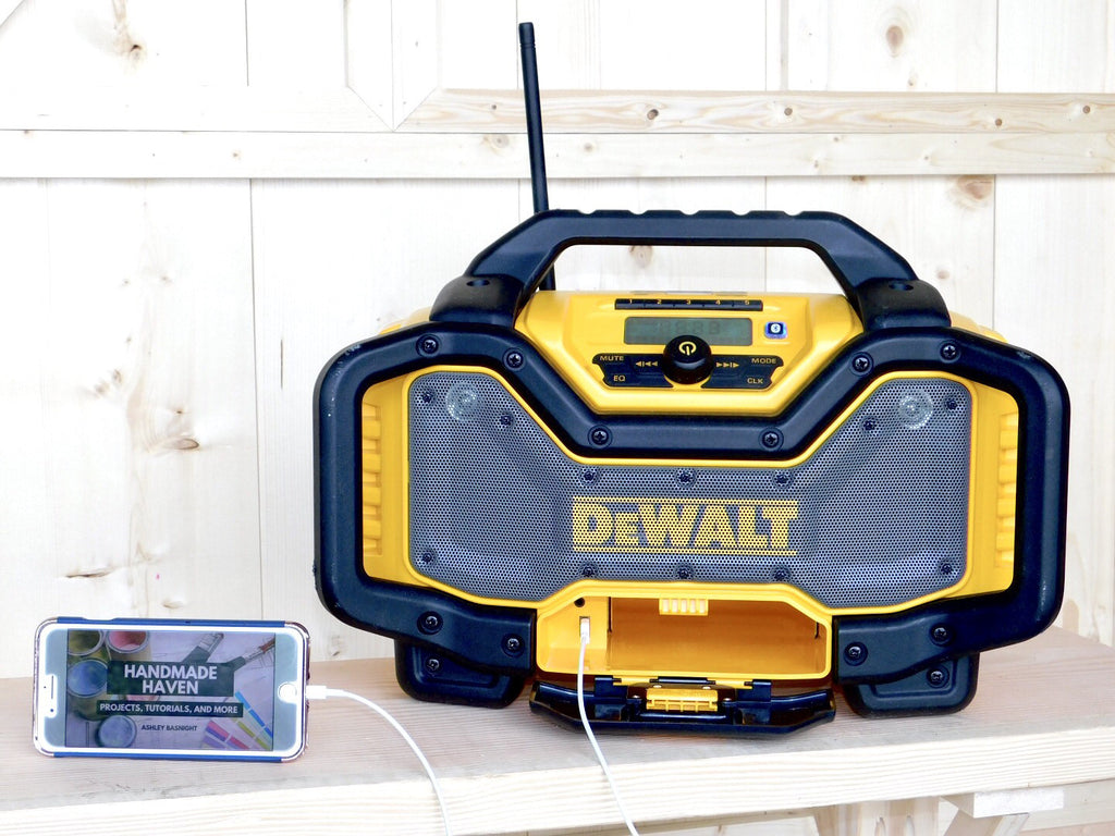 DEWALT Bluetooth Radio Charger connected to iPhone