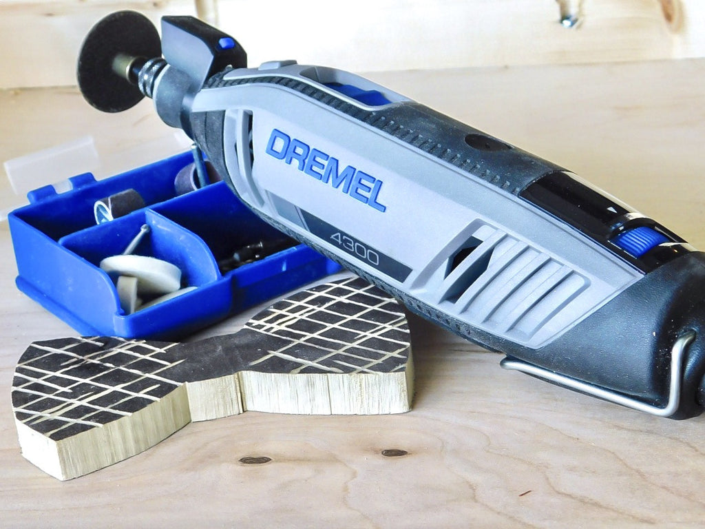Dremel 4300 Series used to cutout wooden bowtie with Dremel accessories