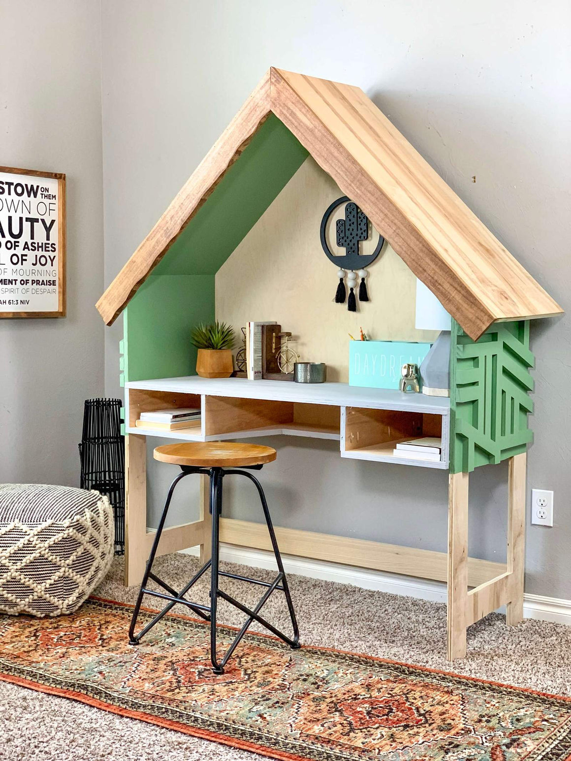 DIY House Frame Kids Desk