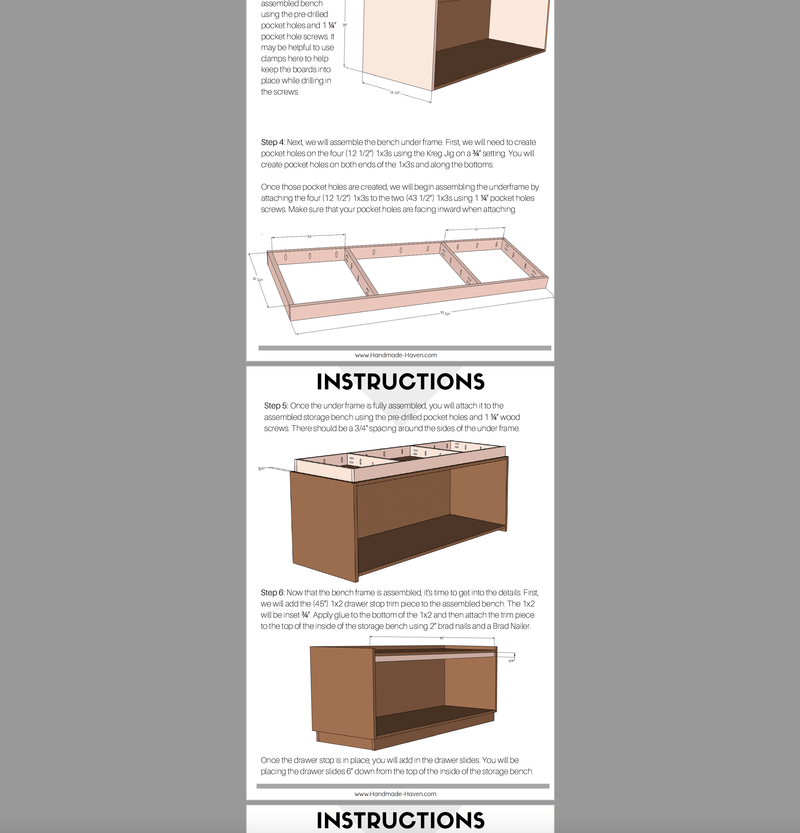 Hall Tree with Storage Bench Printable Plans
