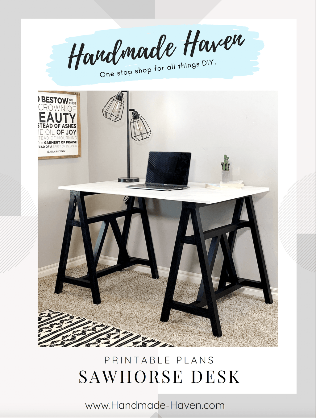 DIY Sawhorse Desk - Printable Build Plans