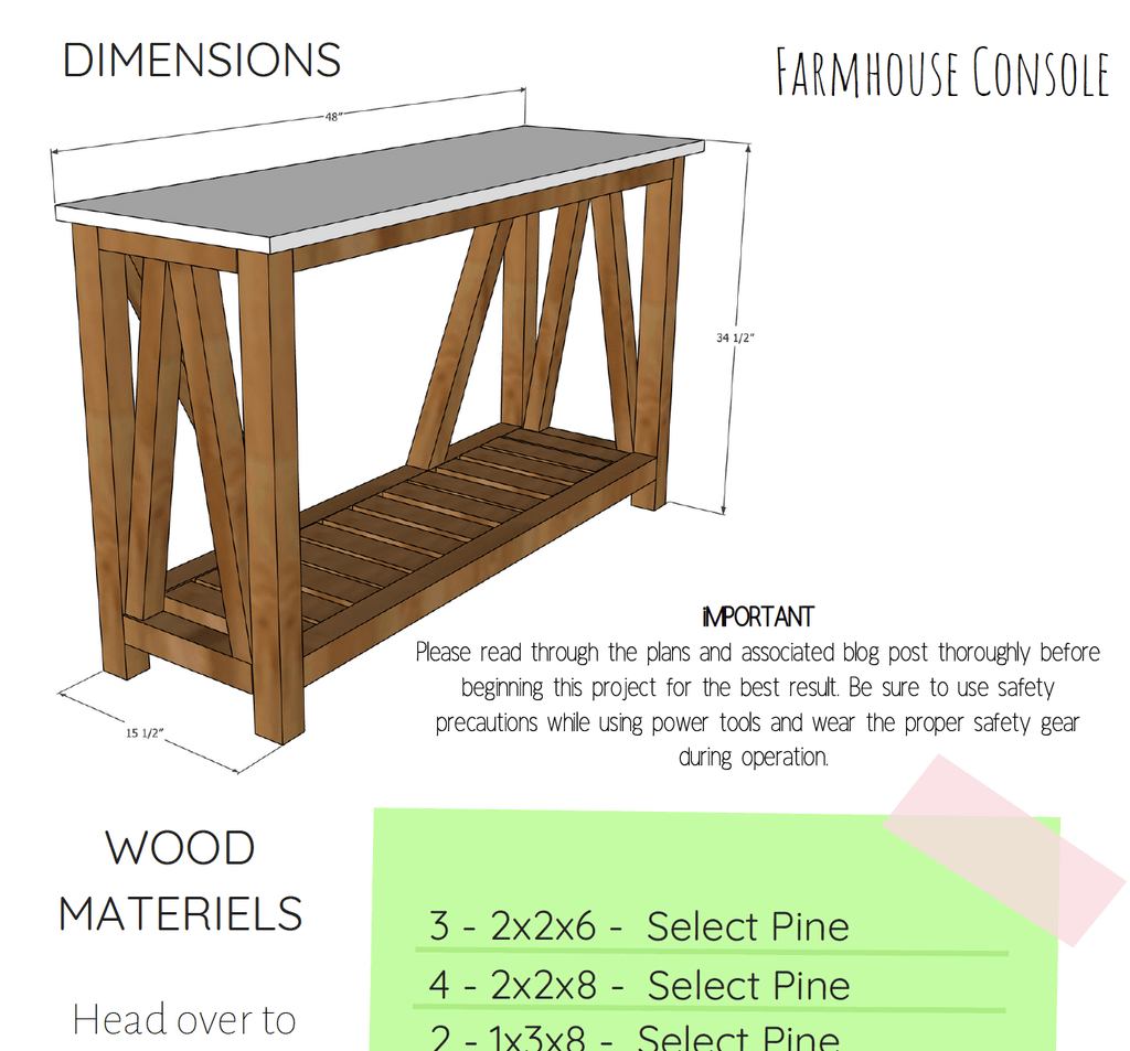 DIY Farmhouse Console Table - Printable Plans