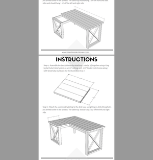 L Shaped Double X Desk - Printable Plans