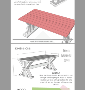 French Farmhouse Dining Table and Bench - Printable Plans