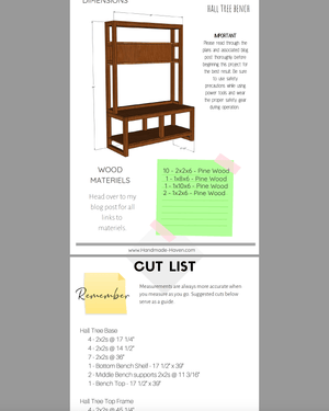 DIY Hall Tree Bench - Printable Plans