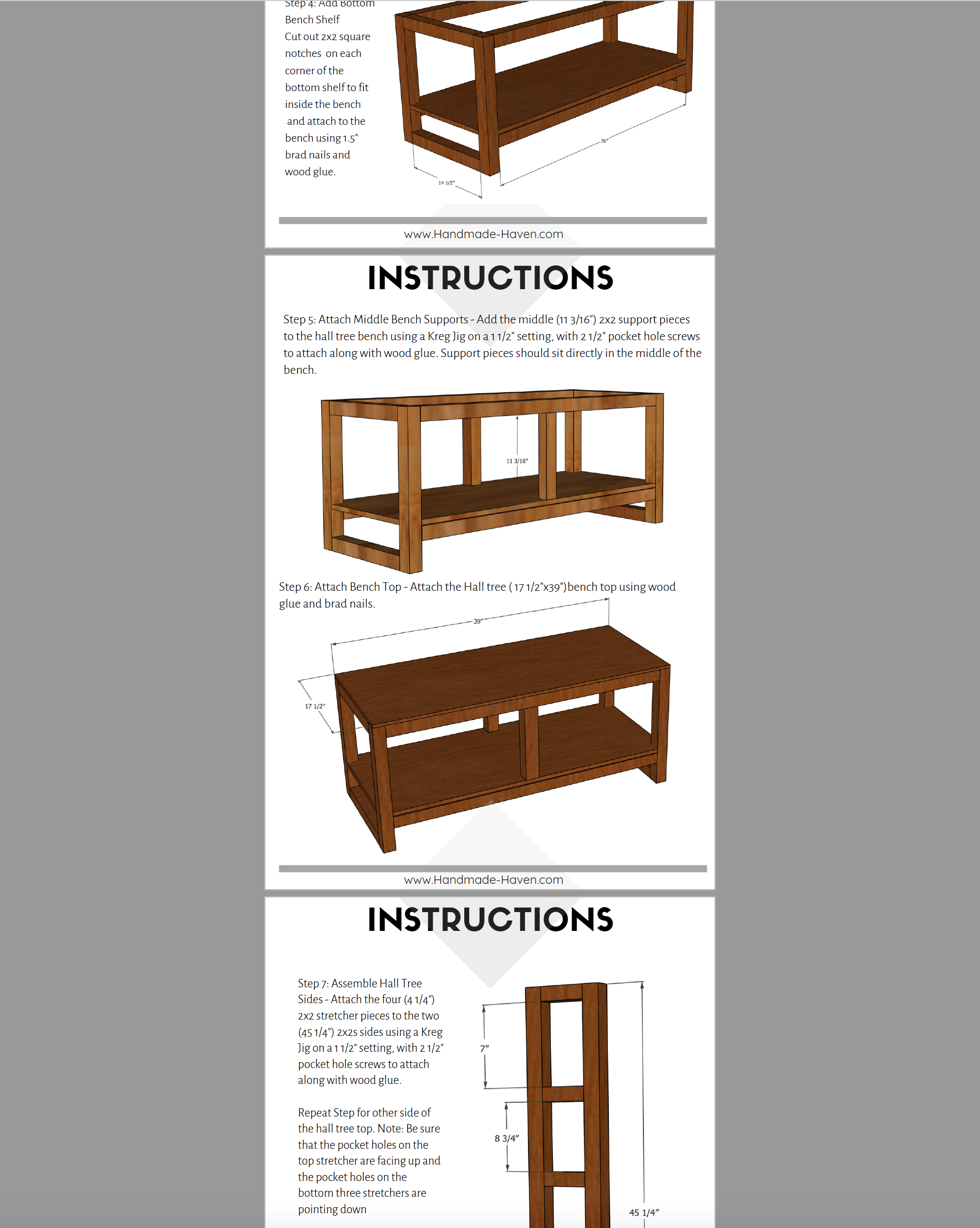 Diy Hall Tree Bench Printable Plans Handmade Haven