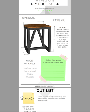 DIY Side Table - Printable Plans