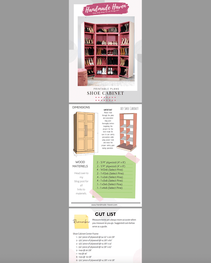 DIY Shoe Cabinet - Printable Plans