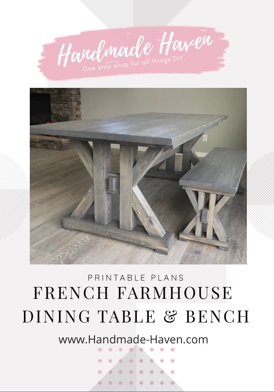 French Farmhouse Dining Table - Printable Plans