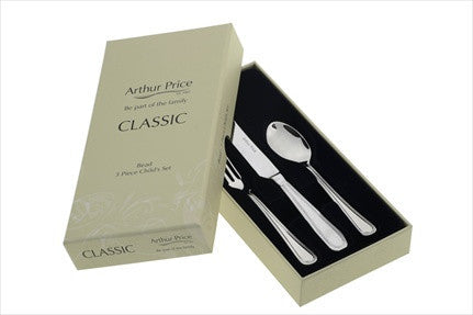 Arthur Price Bead Child Gifts Knife Fork and Spoon Set