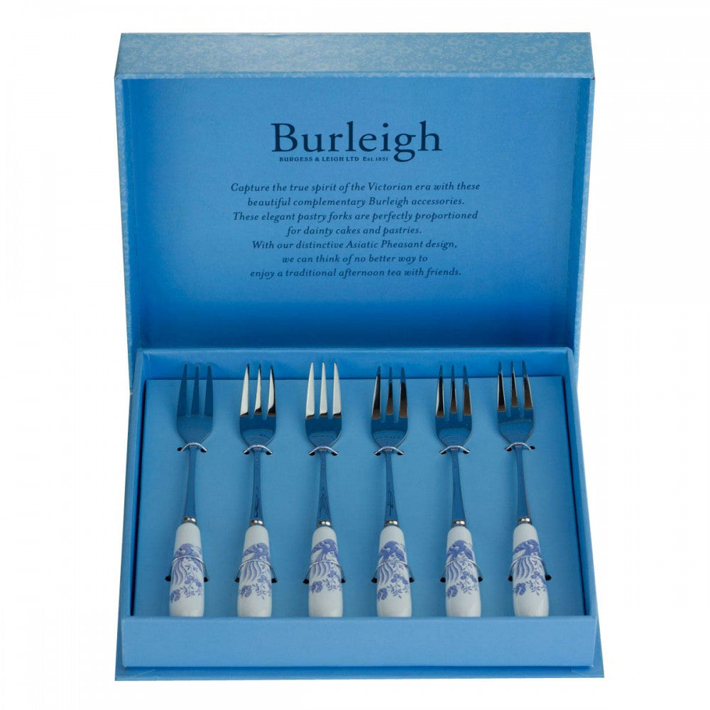 Burleigh Blue Asiatic Pheasant Dessert Fork (Set of 6)