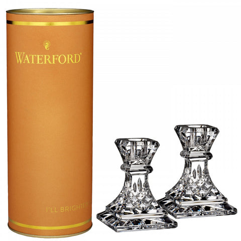 Waterford Crystal Giftology Lismore Candlestick 10cm Pair