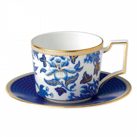 Wedgwood Hibiscus Blue Teacup and Saucer