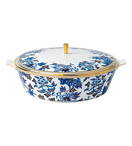 Wedgwood Hibiscus Covered Blue Vegetable Dish 1.5L