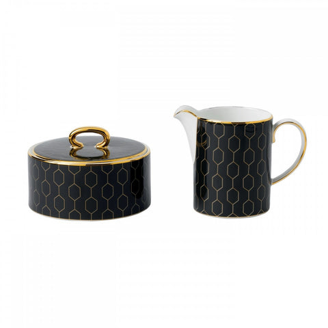 Wedgwood Arris Black Sugar Bowl and Creamer Set