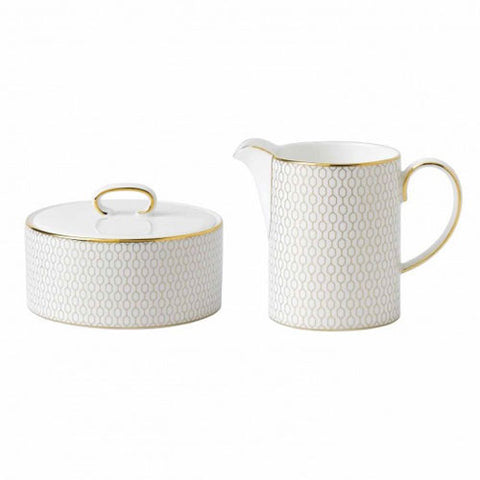 Wedgwood Arris White Covered Sugar Bowl and Creamer Set