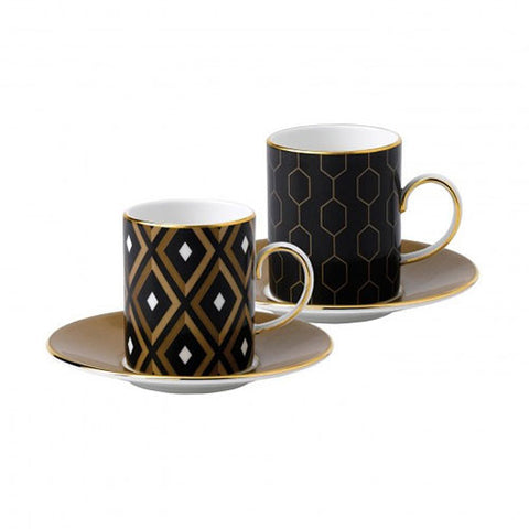 Wedgwood Arris Geo And Honeycombe Espresso Cup And Saucer (Pair)