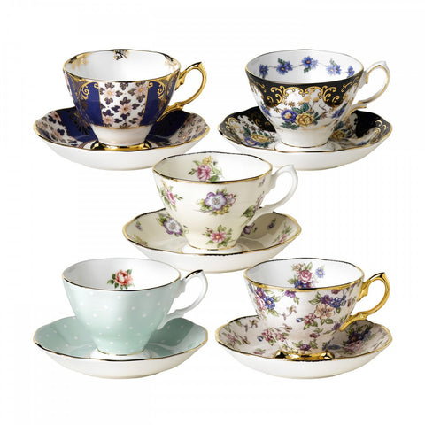 Royal Albert 1900 to 1940 Teacup and Saucer (Set of 5)
