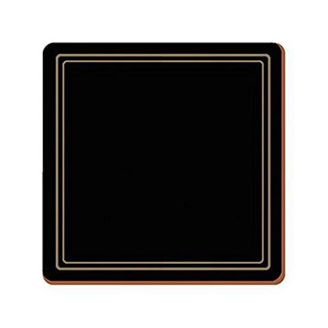 Classic Black Coasters 10.5cm by 10.5cm (Set of 6)