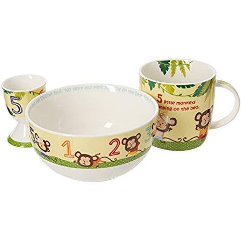 Churchill China 5 Little Monkeys 4 Piece Breakfast Set (Gift Box)