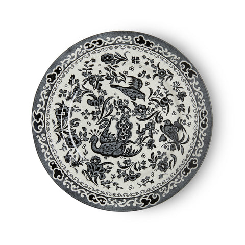 Burleigh Black Regal Peacock Salad Plate 22cm