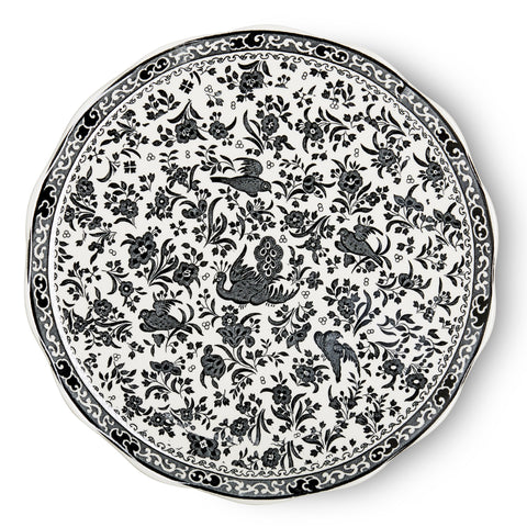 Burleigh Black Regal Peacock Cake Plate 28cm