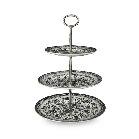 Burleigh Black Regal Peacock 3 Tier Cake Stand