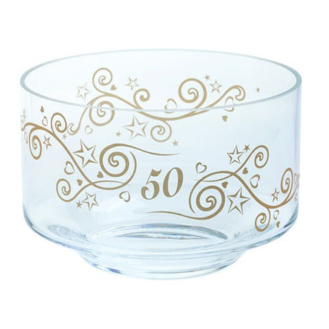 Dartington Crystal  Celebrate 50 Years Bowl 20cm by 13cm