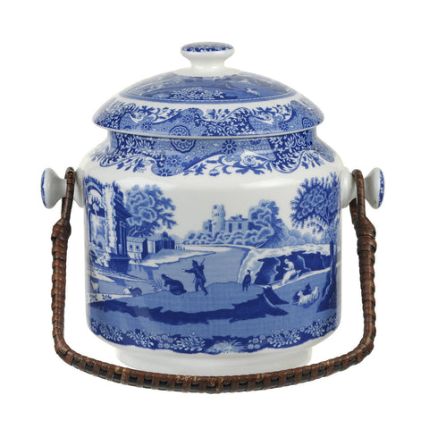 Spode Blue Italian Biscuit Barrel 23cm