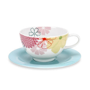 Portmeirion Crazy Daisy Breakfast Cup and Saucer 0.30L (Set of 4)