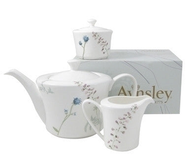 Aynsley China Camille Teapot, Creamer and Sugar Set