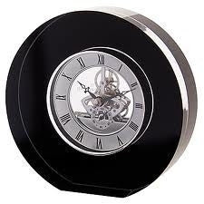 Dartington Crystal Black Round Clock 15cm