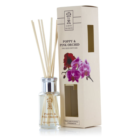 Earth Secrets Reed Diffusers Poppy and Pink Orchid Reed Diffuser 0.05L