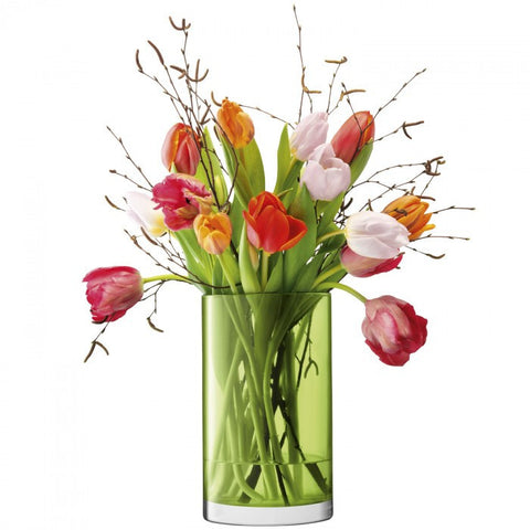 LSA Flower Colour Lime Cylinder Vase 25cm