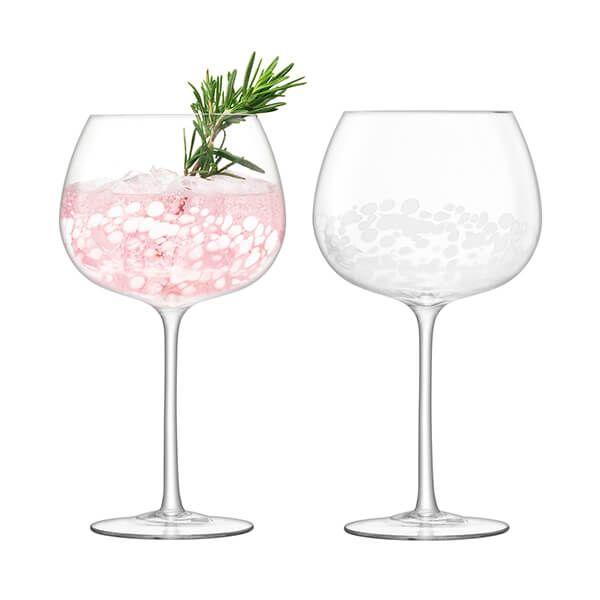 LSA Stipple White Speckle Balloon Goblet 650ml (Set of 2)