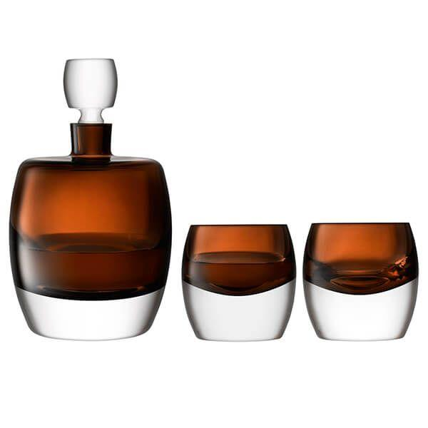 LSA Whisky Club Peat Brown Whisky Set (1 x Decanter+2 x Tumblers)