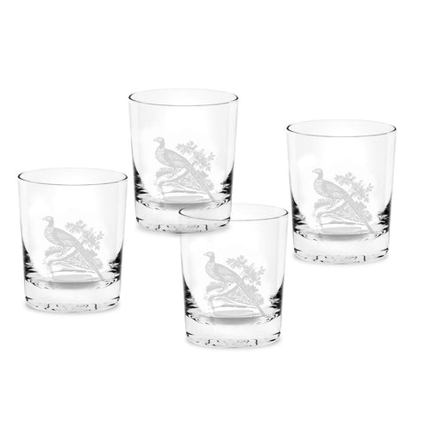 Spode Glen Lodge Set of 4 Pheasant Double Old Fashioned Tumblers 0.35L