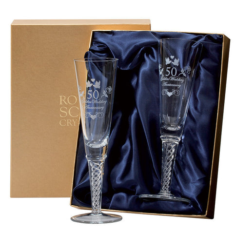 Royal Scot Crystal Celebration Golden Anniversary Air Twist Champagne Flute (Pair)