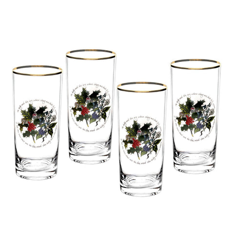 Portmeirion Holly and Ivy Highball Tumbler 0.42L (Set of 4)