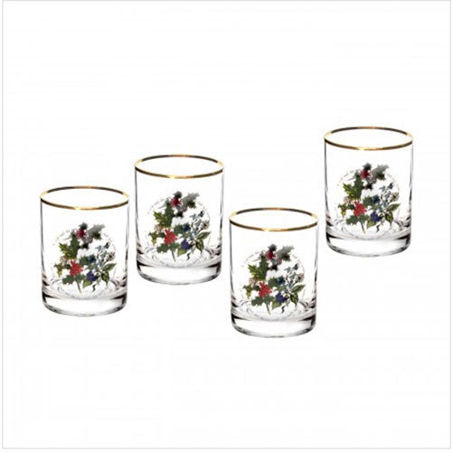 Portmeirion Holly and Ivy Old Fashioned Tumbler 0.45L (Set of 4)