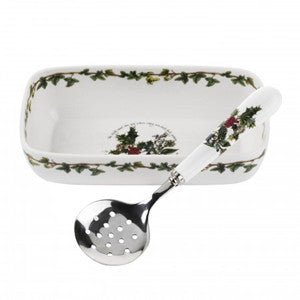 Portmeirion Holly And Ivy Cranberry Dish With Slotted Spoon 20cm By 10cm