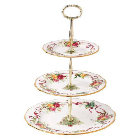 Royal Albert Old Country Roses Christmas 3 Tier Cake Stand