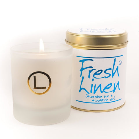 Lily Flame Fresh Linen Glassware Candle
