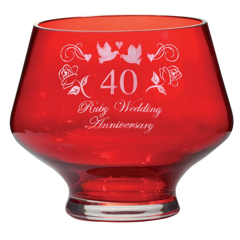 Royal Scot Crystal Celebration Ruby Heeled Bowl