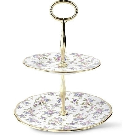 Royal Albert 100 Years Of Royal Albert English Chintz 1940 2 Tier Cake Stand 16cm