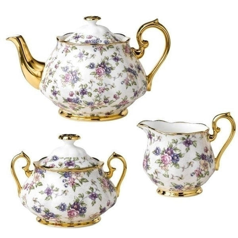 Royal Albert 100 Years Of Royal Albert English Chintz 1940 3 Piece Tea Set