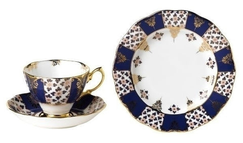 Royal Albert 100 Years Of Royal Albert 1900 Regency Blue Tea Plate, Teacup and Saucer