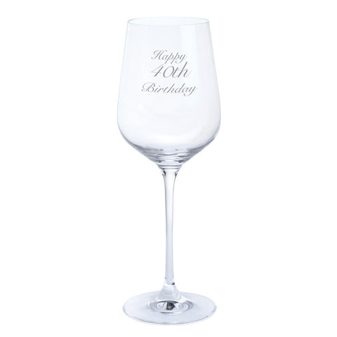 Dartington Crystal Just For You Happy 40th Birthday Wine Glass 0.45L (Single)