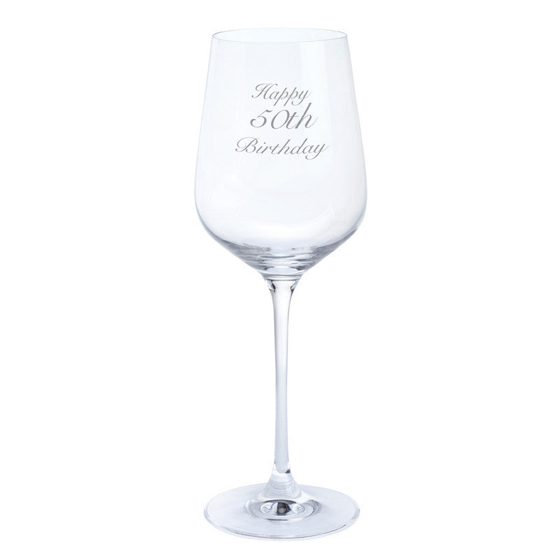 Dartington Crystal Just For You Happy 50th Birthday Wine Glass 0.45L (Single)